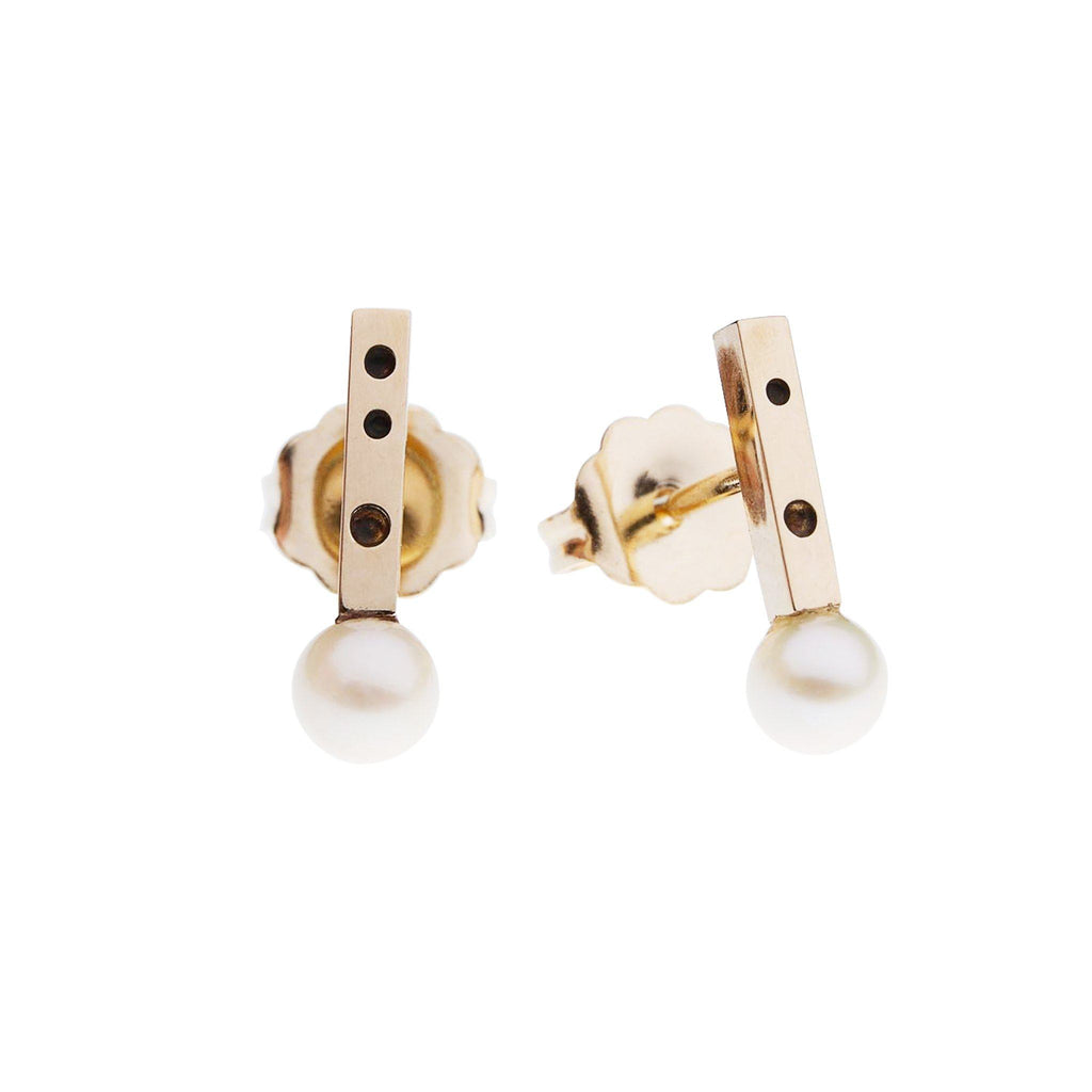"Earrings - 14k Gold Pearl Stud Earrings ""Very Berry"""