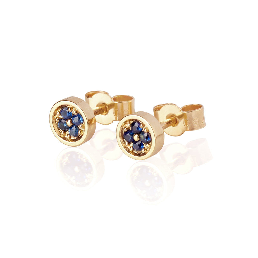 Earrings - 14k Gold Stud Earrings With Blue Sapphires