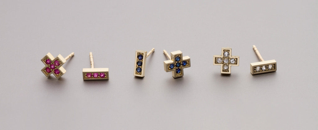 "Earrings - 14k Gold Stud Earrings With Blue Sapphires ""Plus Minus"""