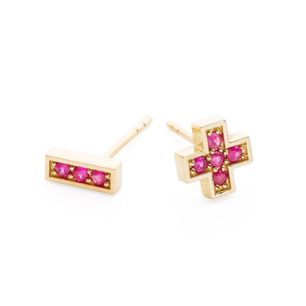 "Earrings - 14k Gold Stud Earrings With Red Sapphires ""Plus Minus"""