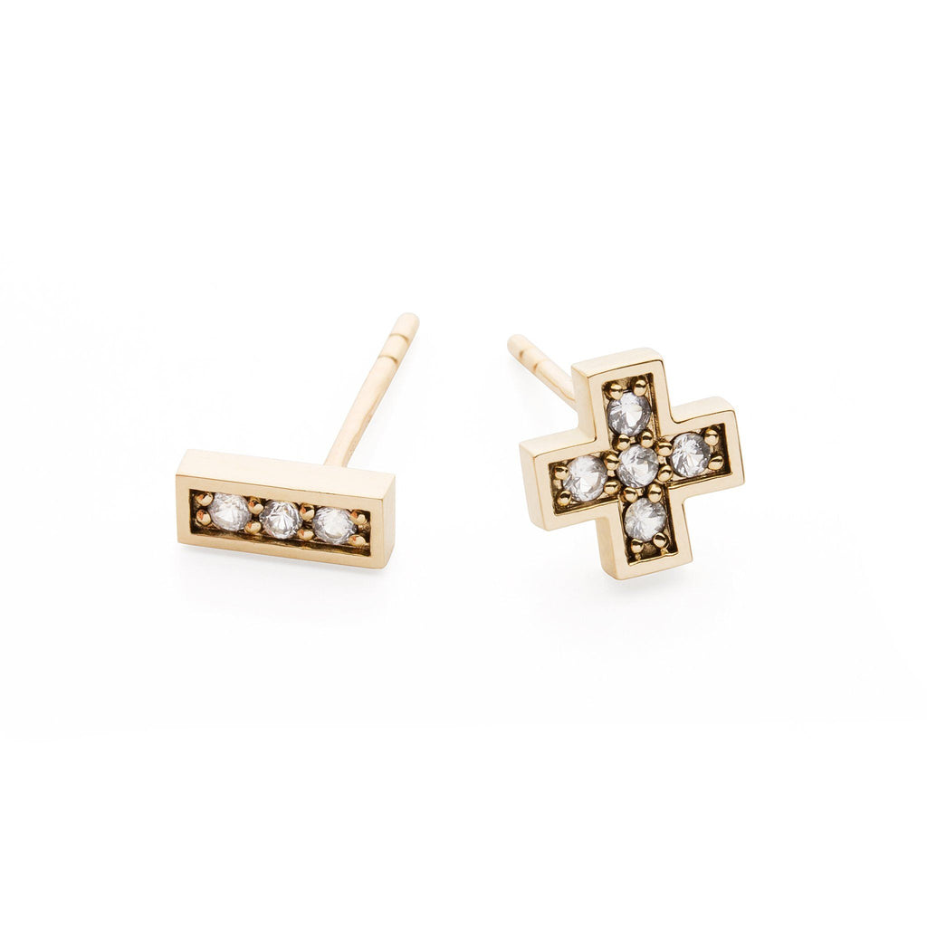 "Earrings - 14k Gold Stud Earrings With White Sapphires ""Plus Minus"""