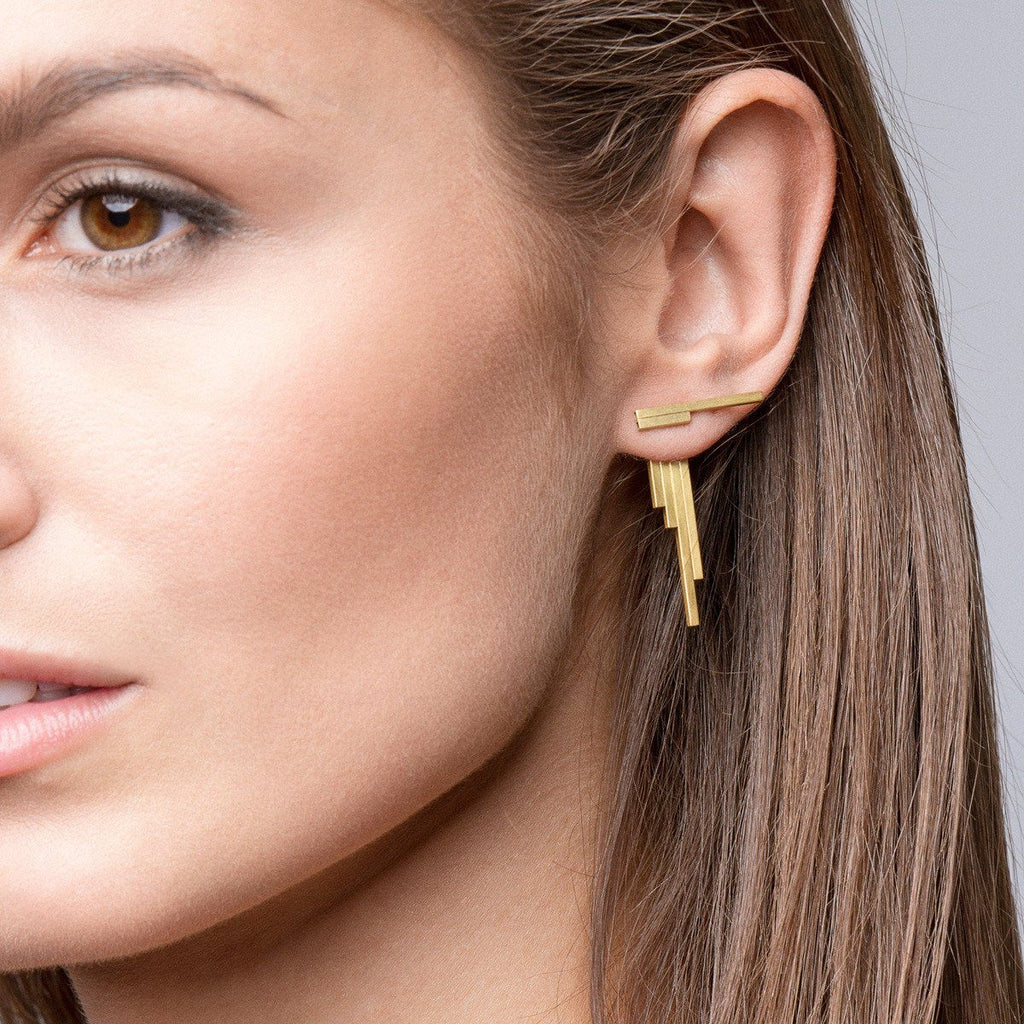 Earrings - CONCORD Double-Sided Gold Earrings