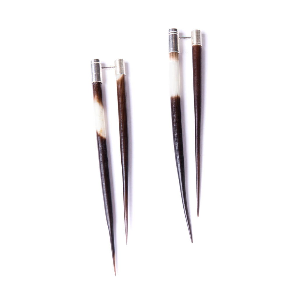 Earrings - Double Sided Porcupine Quill TRANSFIX Silver Earrings