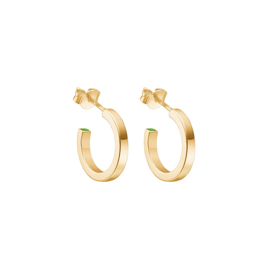 "Earrings - Gold Plated Silver Earrings ""Plain Loop"""
