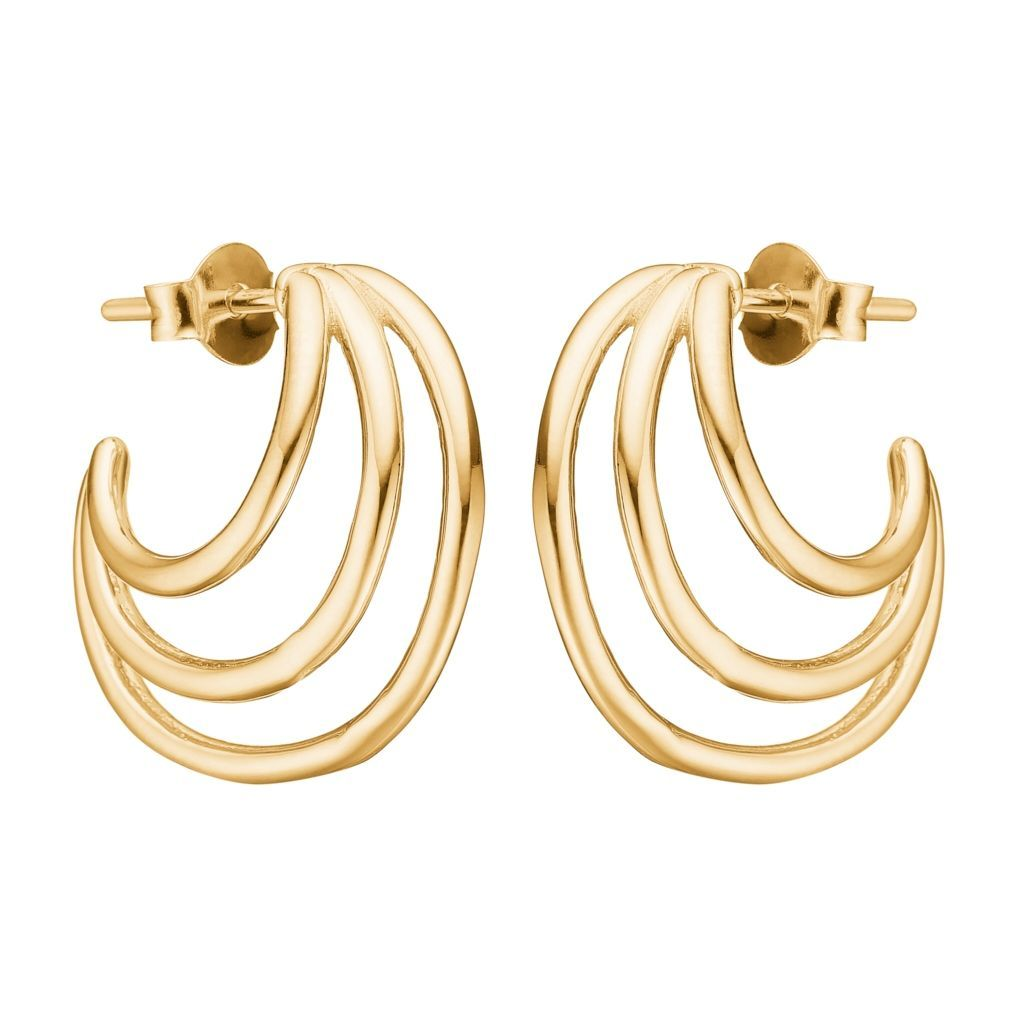 "Earrings - Gold Plated Silver Earrings ""Triple Loop"""
