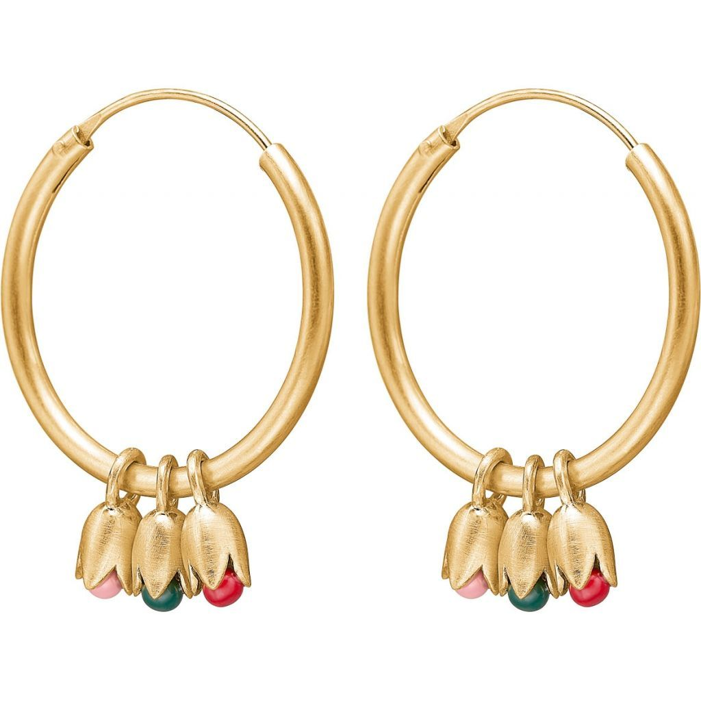 "Earrings - Gold Plated Silver Earrings ""Tulips"""