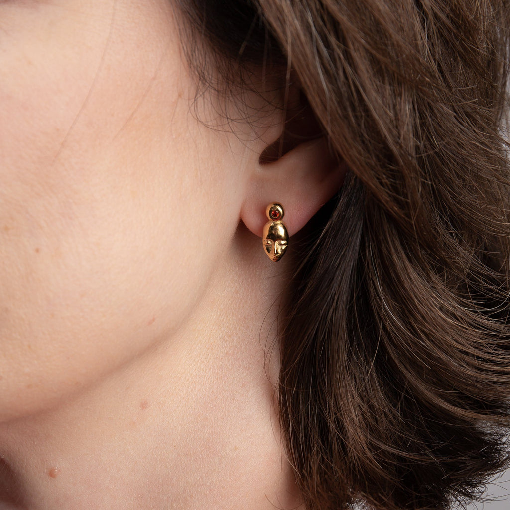 "Earrings - Gold Plated Silver Studs ""Dreamers"" With Morroco Garnet"
