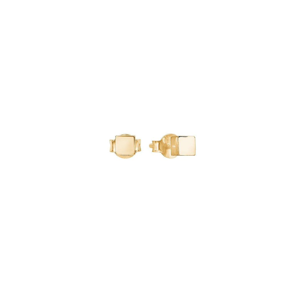 "Earrings - Gold Plated Silver Studs ""Gold Square"""