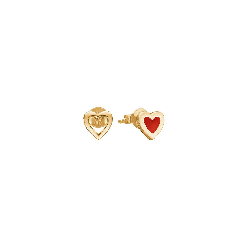 "Earrings - Gold Plated Silver Studs ""Heart Ruby"""