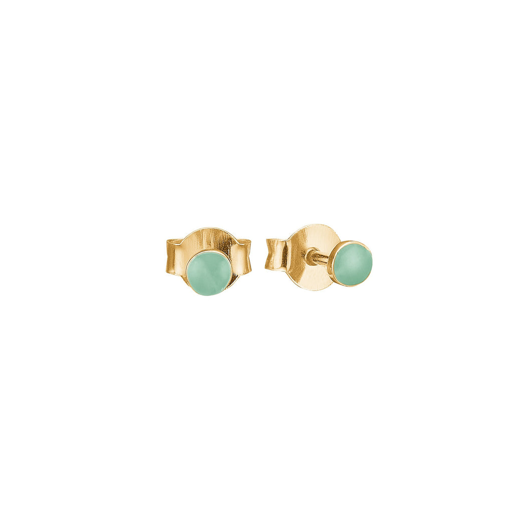 "Earrings - Gold Plated Silver Studs ""Petit Mint"""