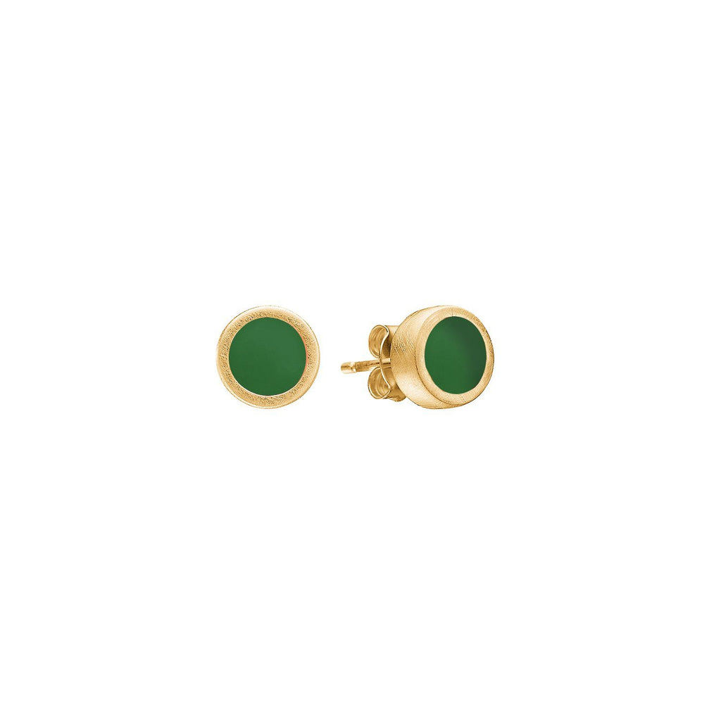 "Earrings - Gold Plated Silver Studs ""Petrol Green"""