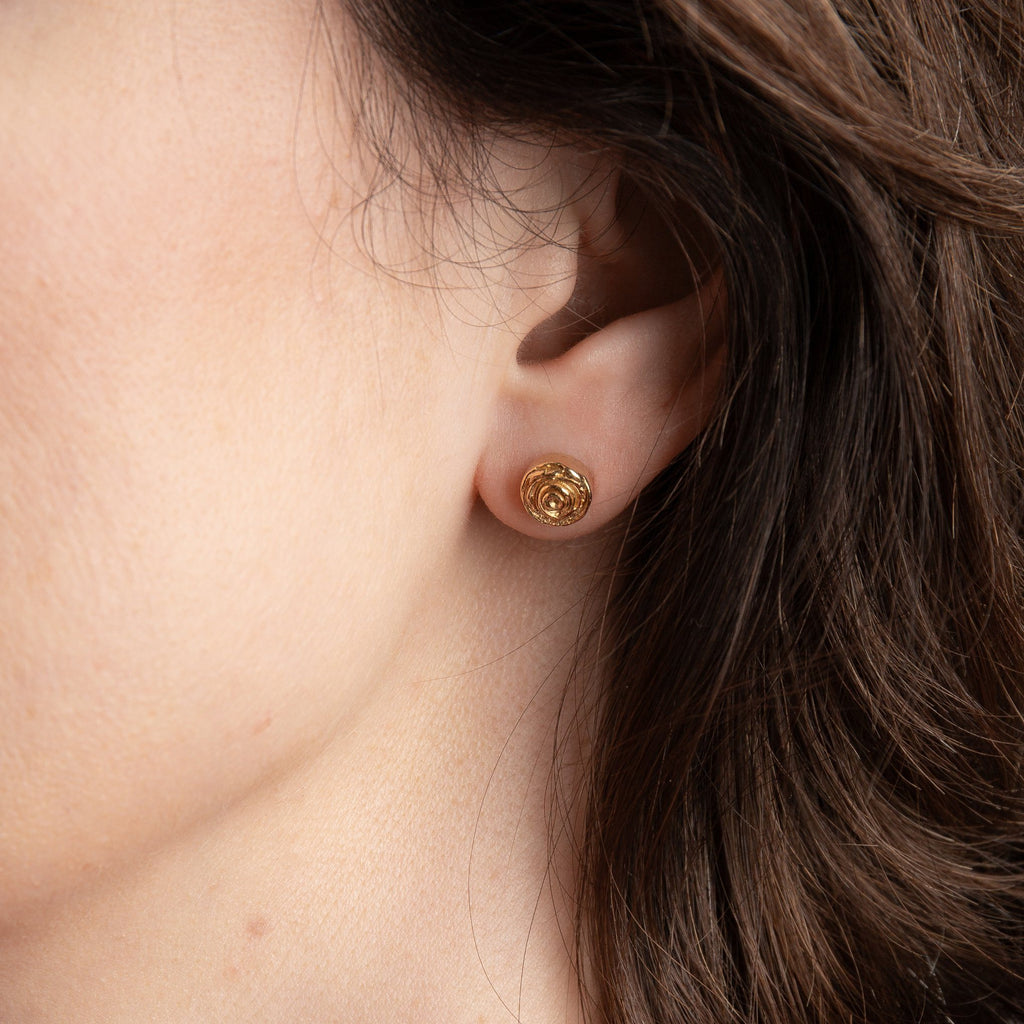 "Earrings - Gold Plated Silver Studs ""Rose"""