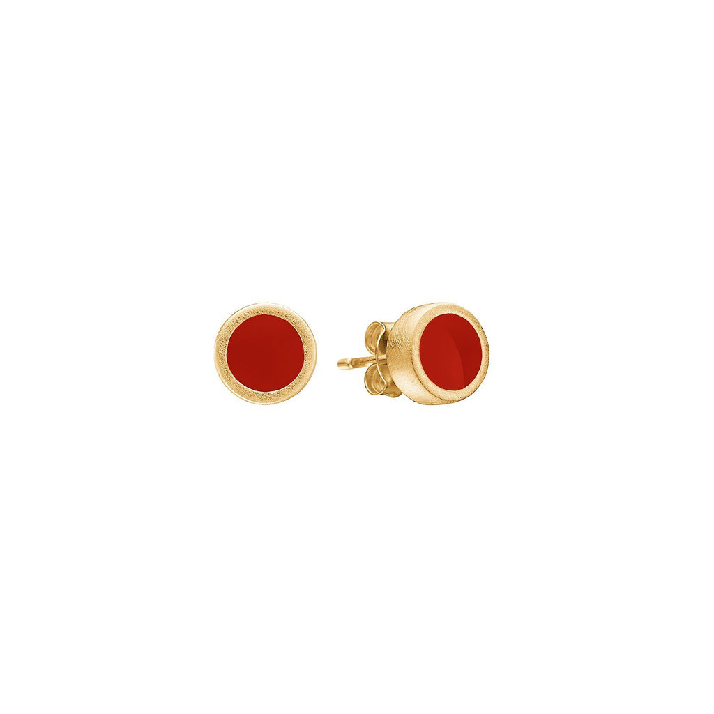 "Earrings - Gold Plated Silver Studs ""Ruby"""