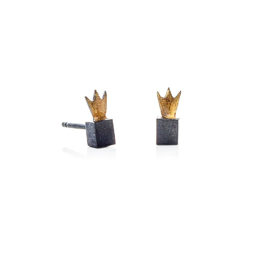 "Earrings - Oxidised Earrings ""Crown Cubes"""