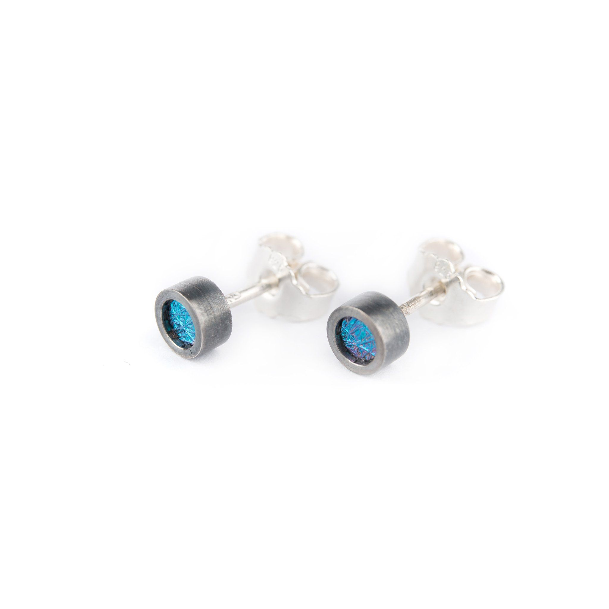 83f77774d Earrings - Oxidised Silver Studs With Green Niobium. Earrings - Oxidised  Silver Studs With Green Niobium