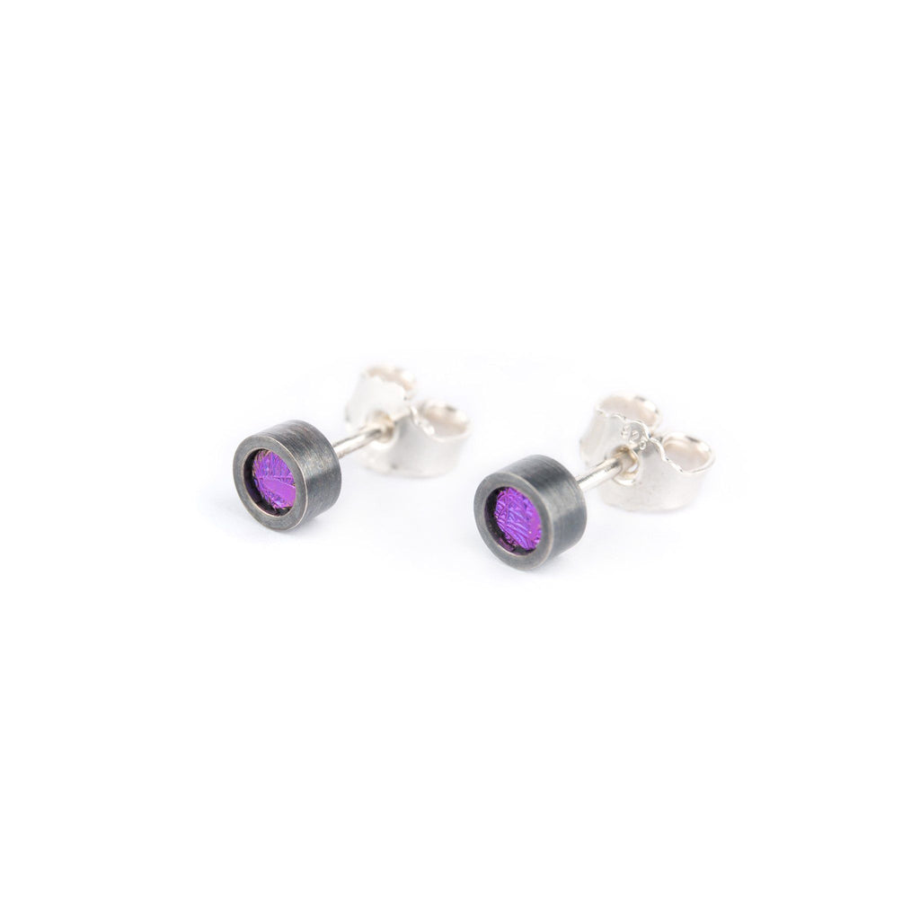 Earrings - Oxidised Silver Studs With Violet Niobium