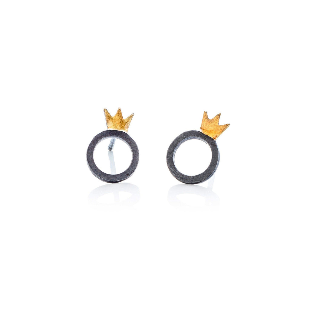 "Earrings - Oxidised Stud Earrings ""Crown&Round"""