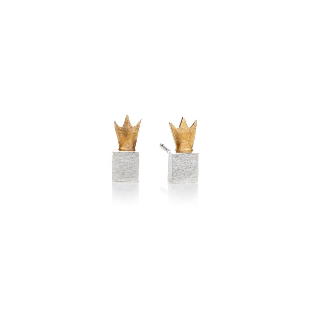 "Earrings - Silver Stud Earrings ""Crown Cubes"""