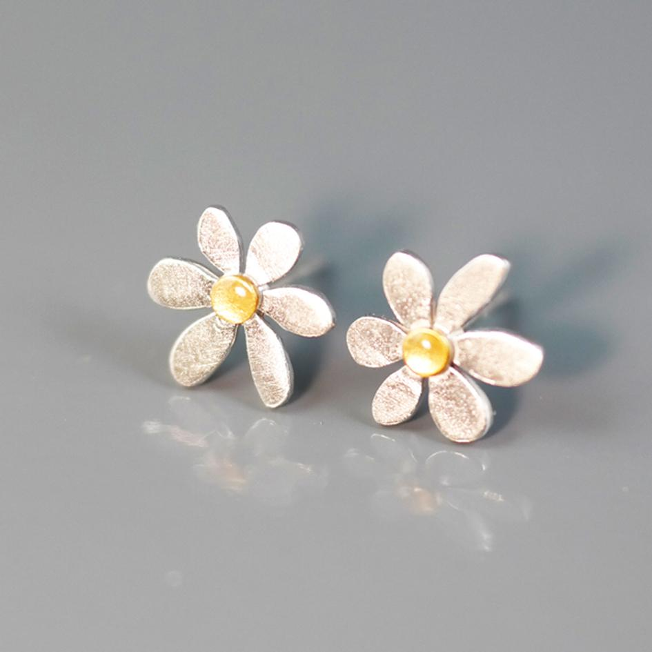 "Earrings - Silver Stud Earrings ""Daisies"""