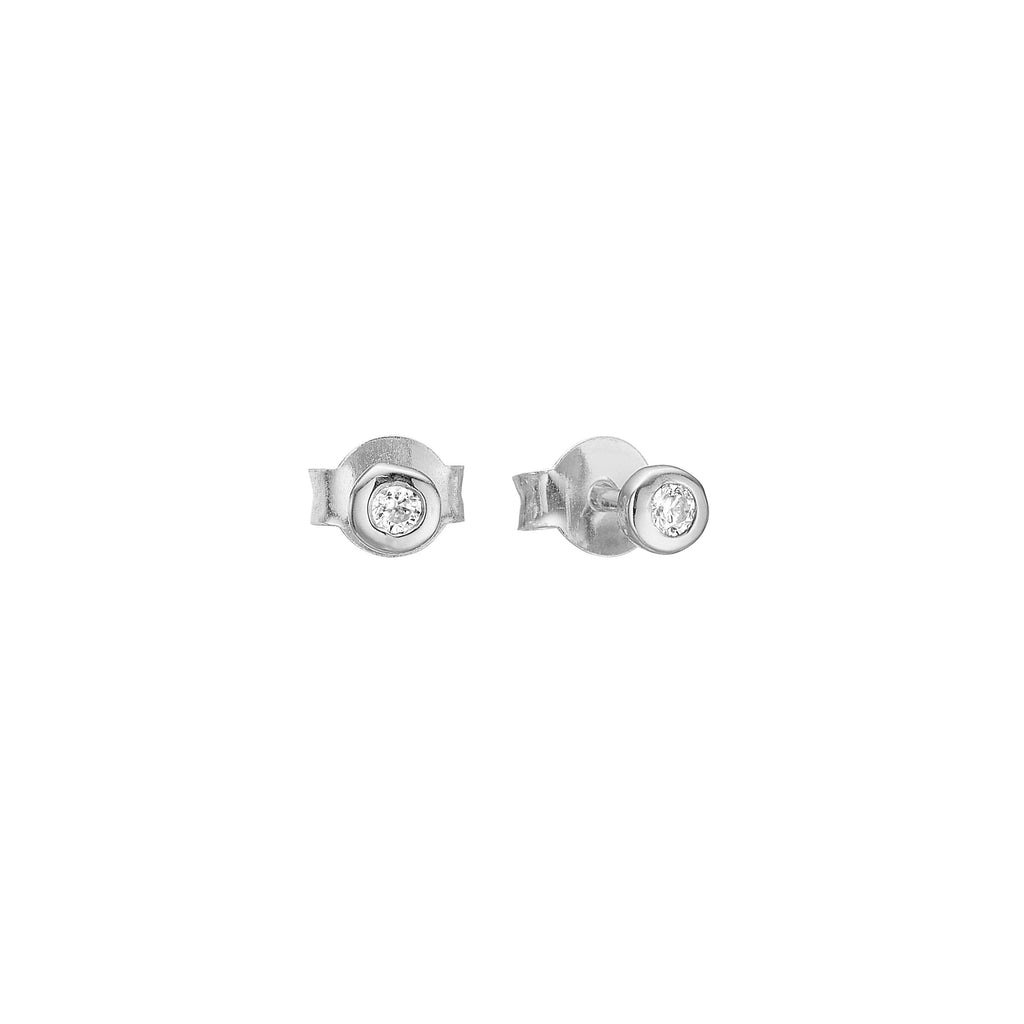"Earrings - Silver Stud Earrings ""Petit Silver Zirconia"""