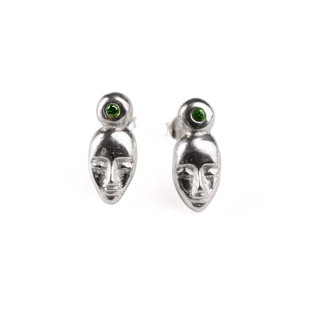 "Earrings - Silver Studs ""Dreamers"" With Chrome Diopside"