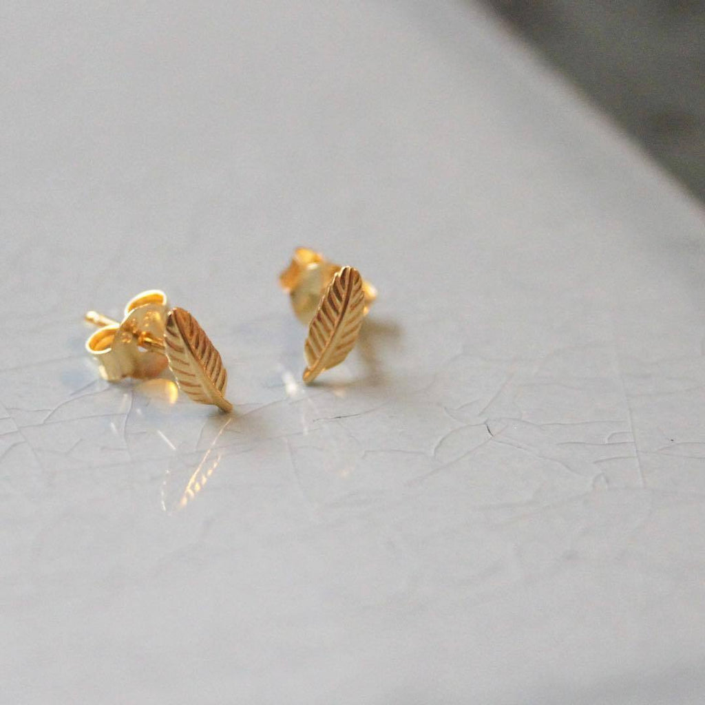 "Earrings - Silver Studs ""Gold Leaf"""