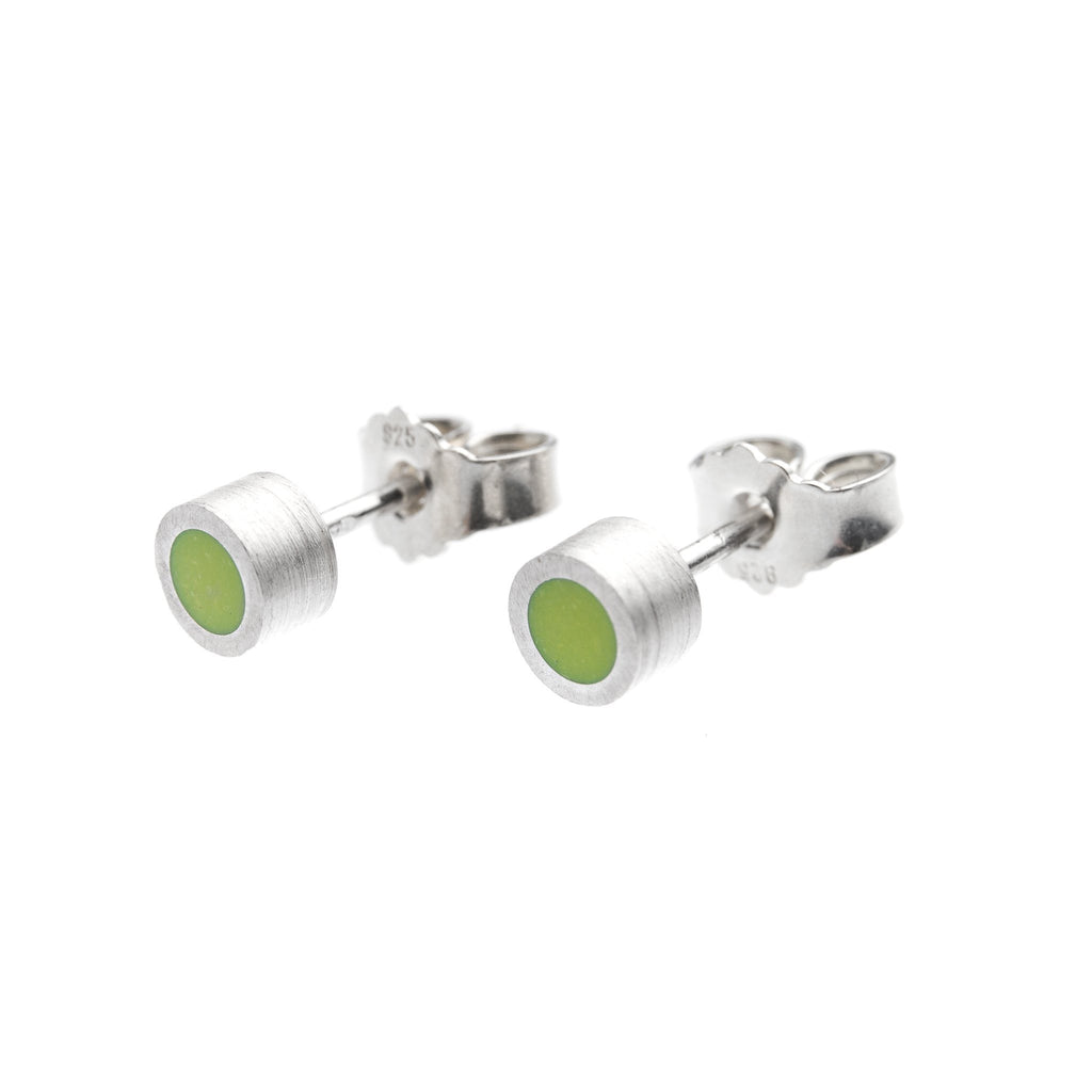 Earrings - Silver Studs With Green Enamel