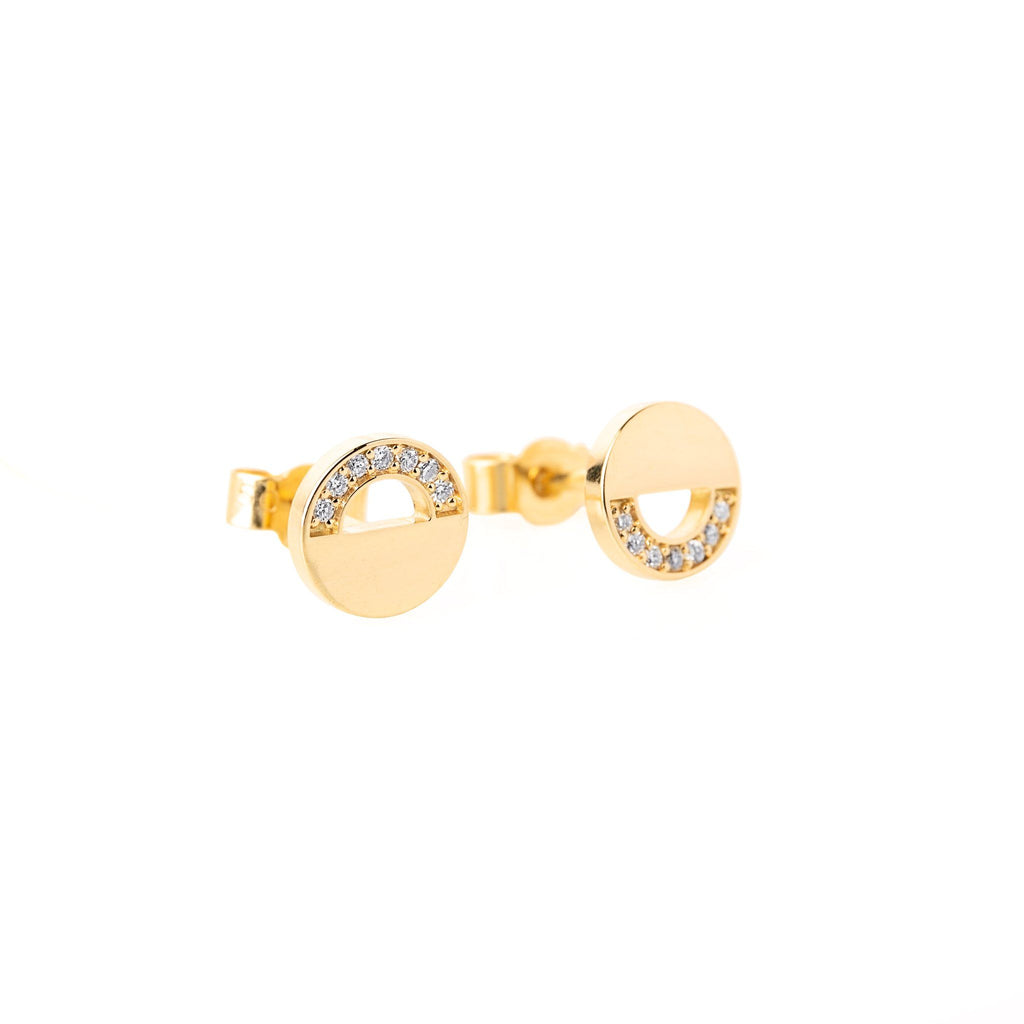 Earrings - Yellow Gold Stud Earrings With Diamonds