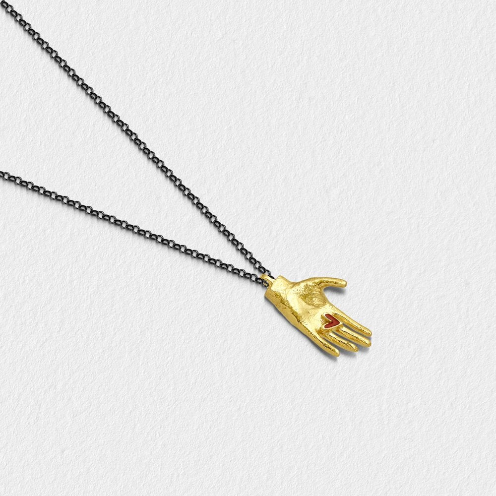"Silver Gold Plated Necklace ""Hand I"""
