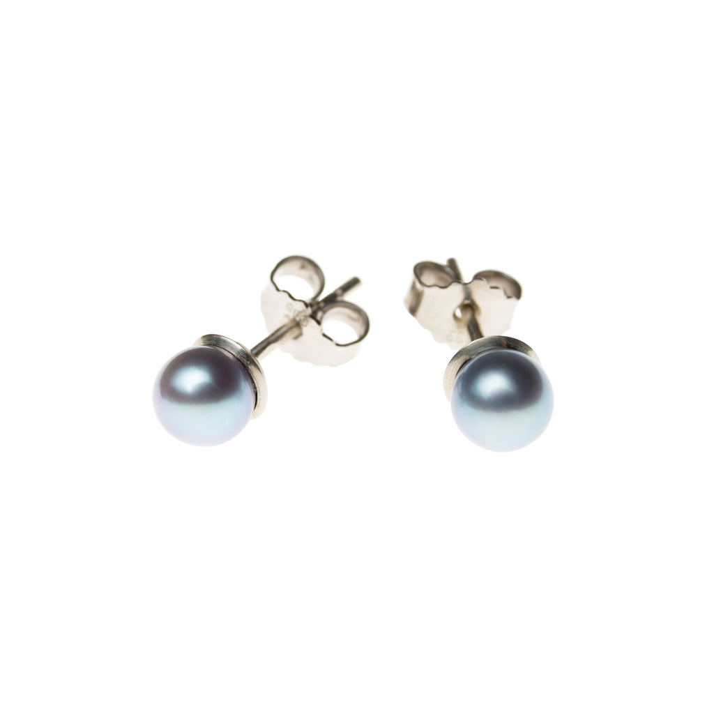 14k Gold Stud Earrings with Silver Akoya Pearls