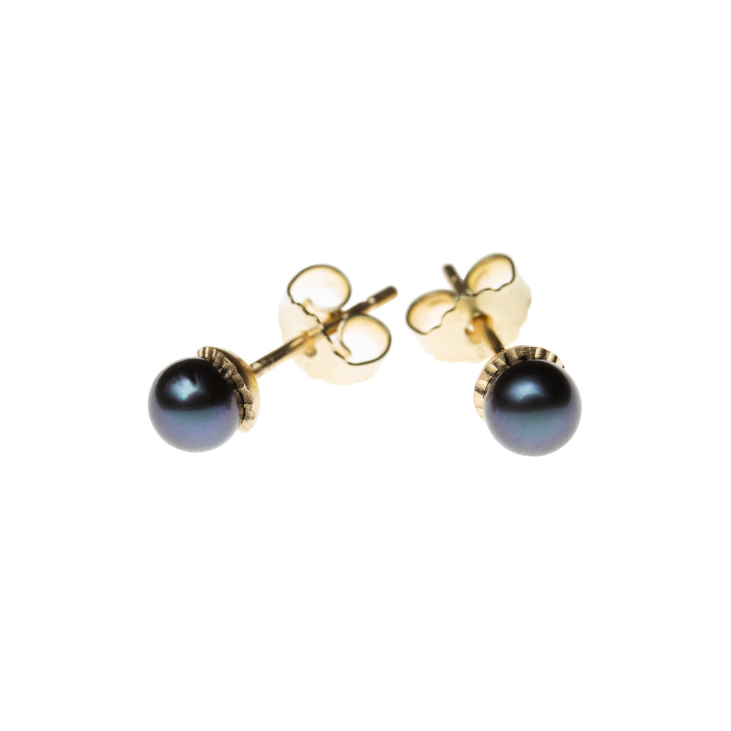 Gold Stud Earrings with Bronze Akoya Pearls