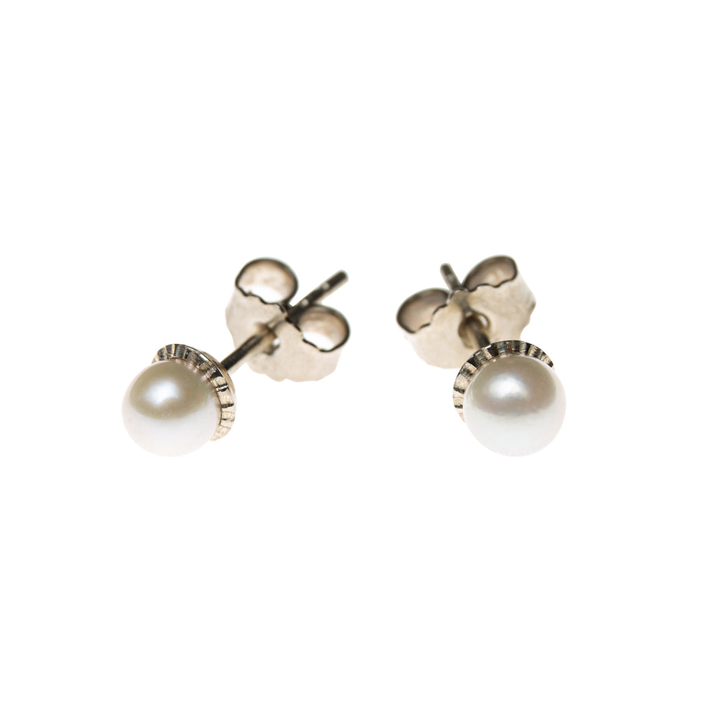 Gold Stud Earrings with White Akoya Pearls