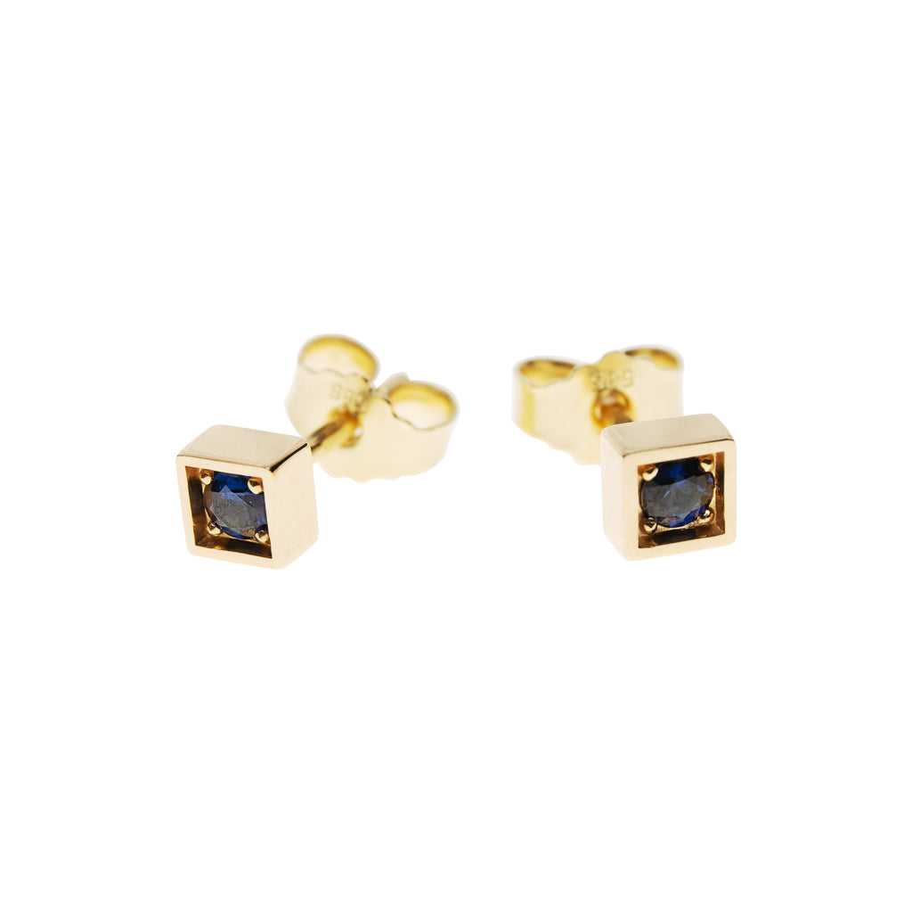 14k Gold Square Stud Earrings with Sapphires