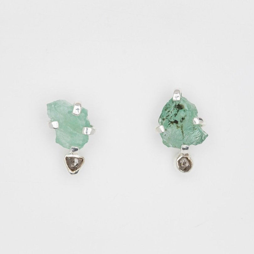 Twin Soul Earrings with Emerald and Rosecut Diamonds