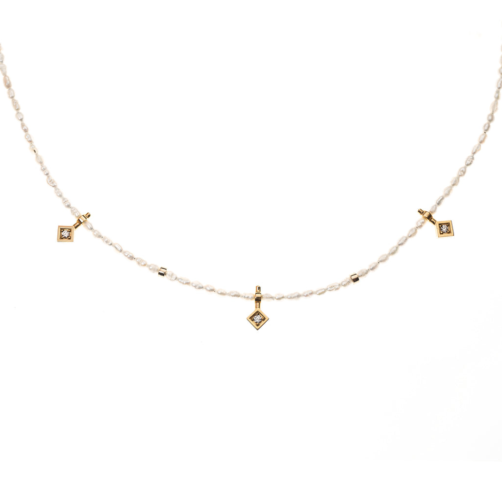 Pearl and 14k Yellow Gold & Diamonds Necklace