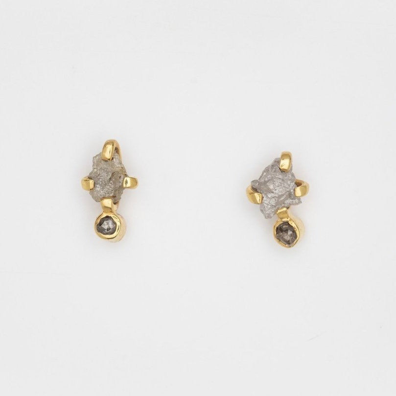 Twin Soul Earrings with Rough and Rosecut Diamonds