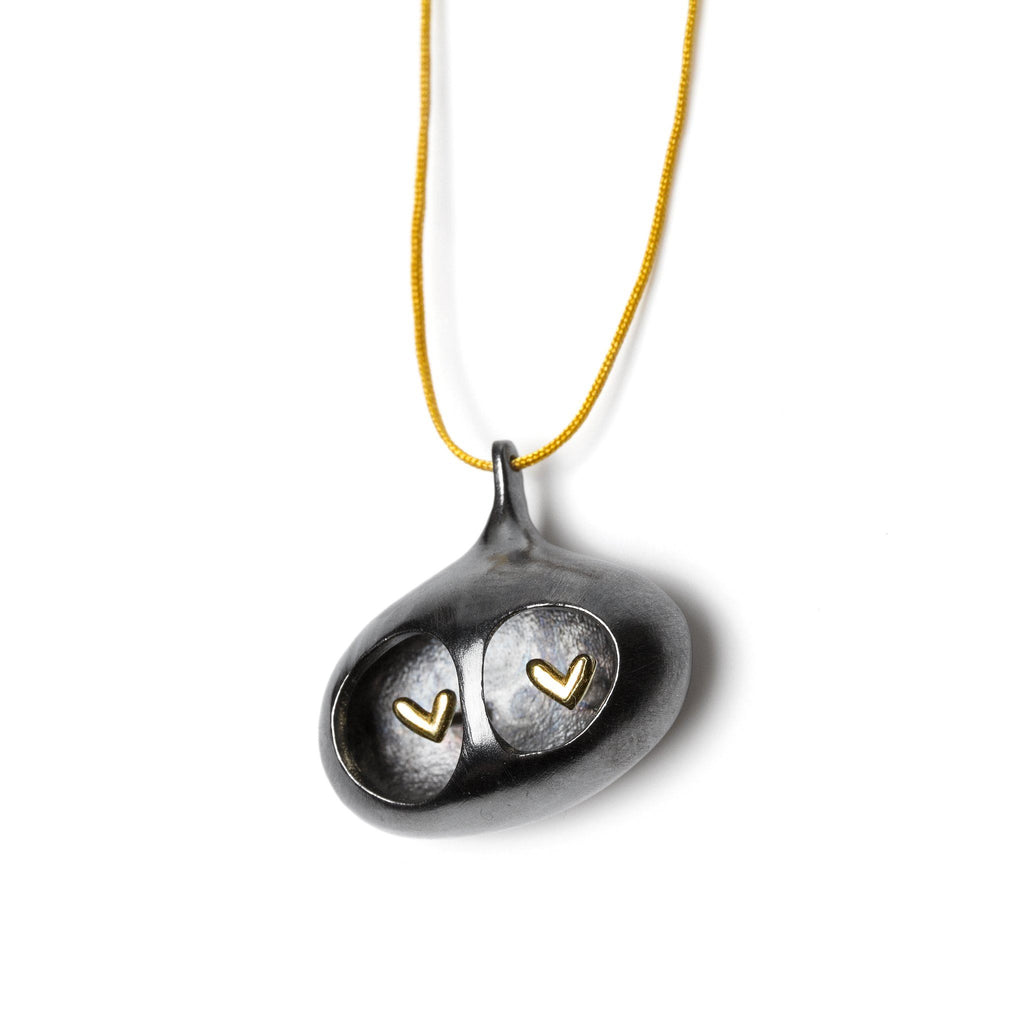 "Necklaces & Pendants - Silver Pendant ""Two Hearts Black"""