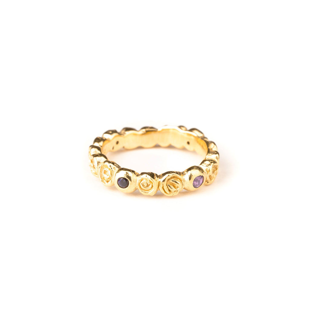 "Rings - Gold-plated Ring ""Rose"" With Amethysts And Iolites"