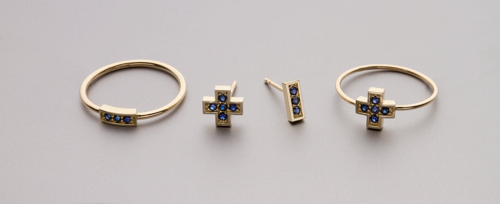 "Rings - Gold Ring ""Plus"" With Blue Sapphires"