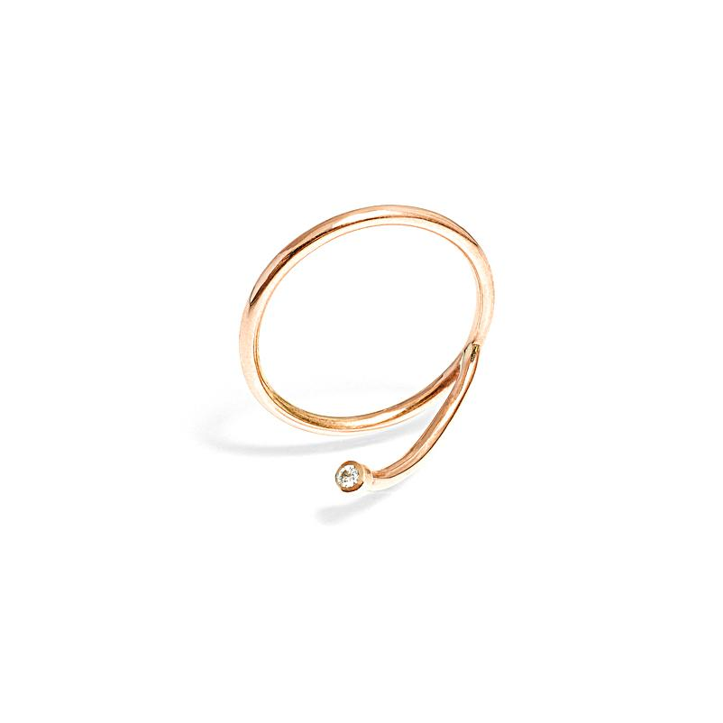 Rings - Offset Diamond Yellow Gold Stacking Ring