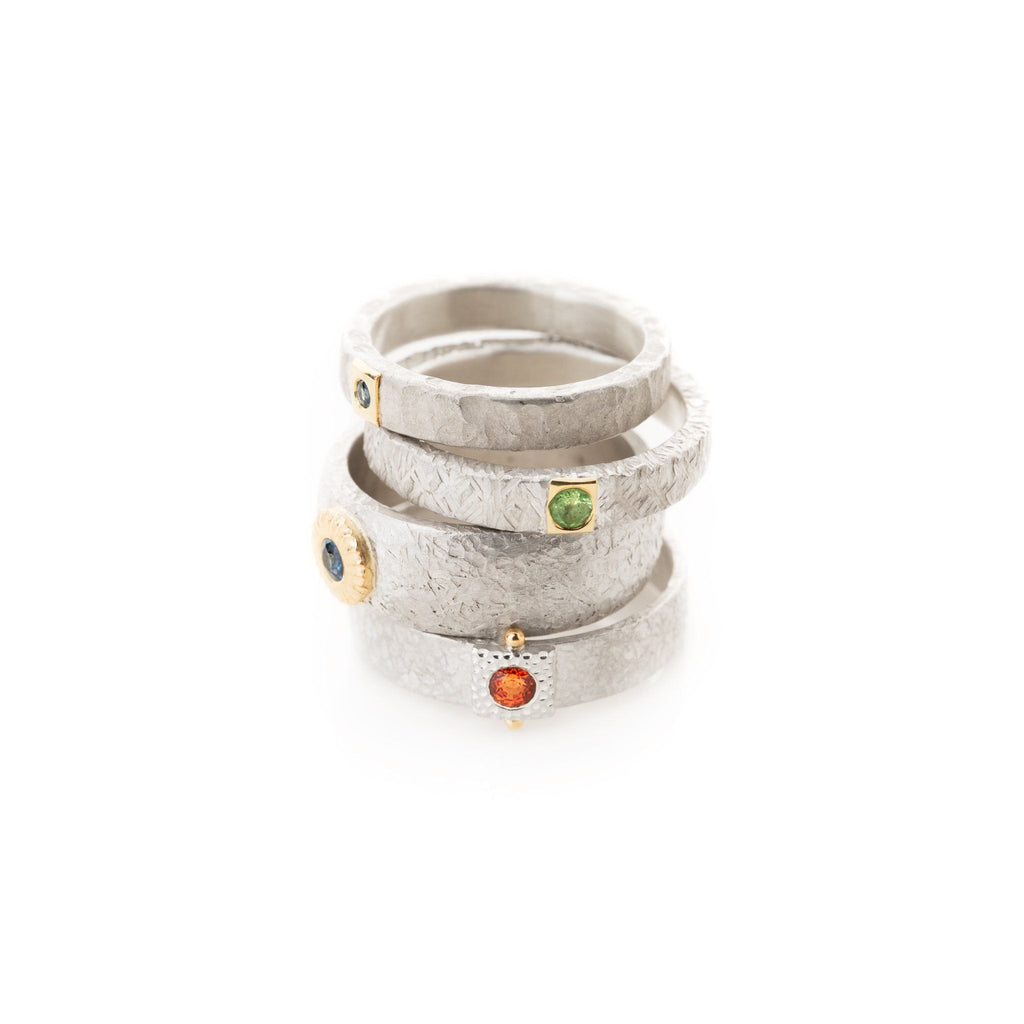 Rings - Silver Gold Grossular Garnet Ring