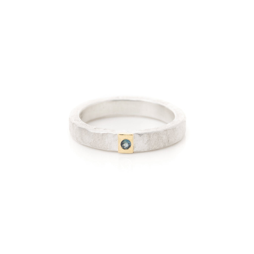 Rings - Silver Gold Sapphire Ring
