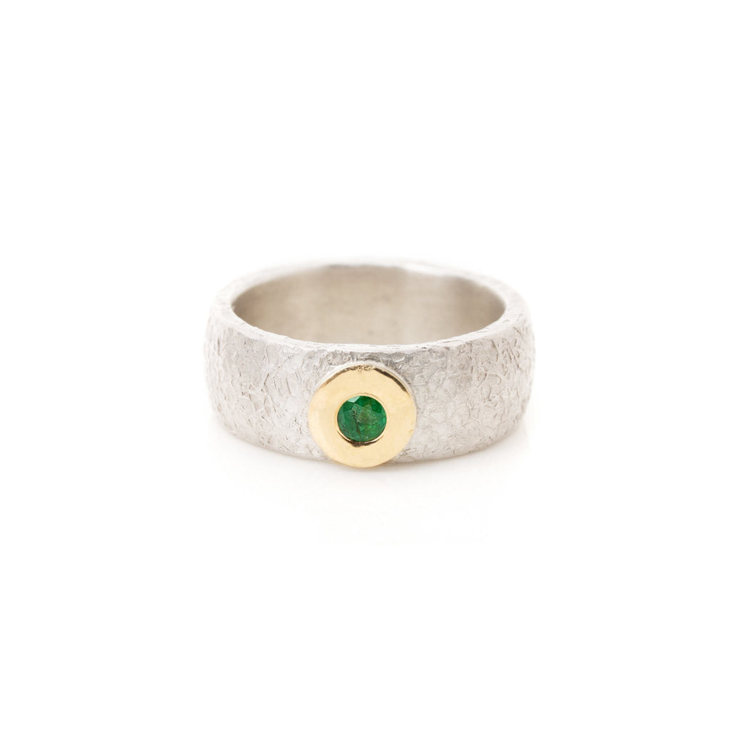 Rings - Wide Silver Emerald Ring