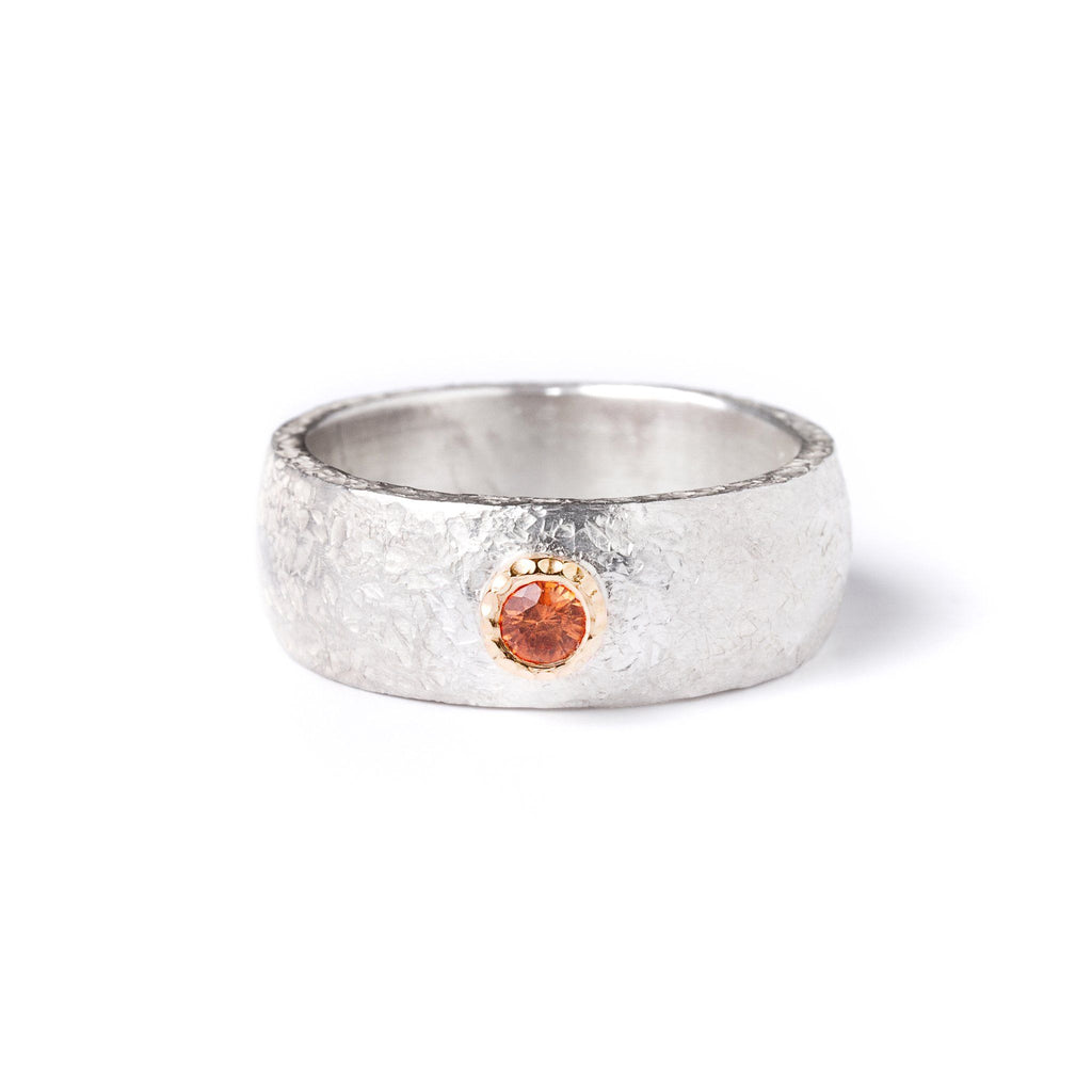Rings - Wide Silver Orange Sapphire Ring