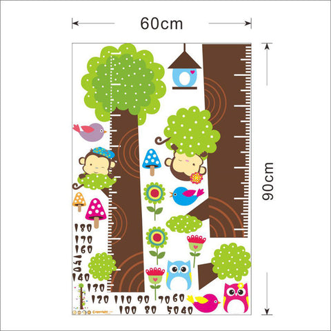 Height Measurement Growth Chart Tree Monkey And Owls Red Limon