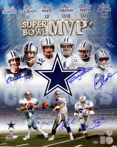 Hand Signed by Emmitt Smith, Troy Aikman, Roger Staubach, Larry Brown, Chuck Howley & Randy White
