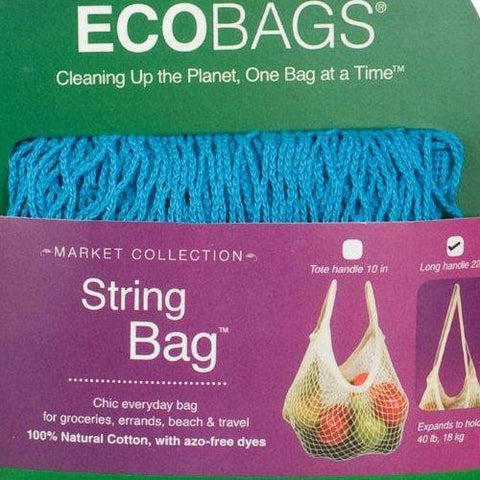 ECOBAGS Market Collection String Bags Long Handle - Caribbean Blue - 10 Bags