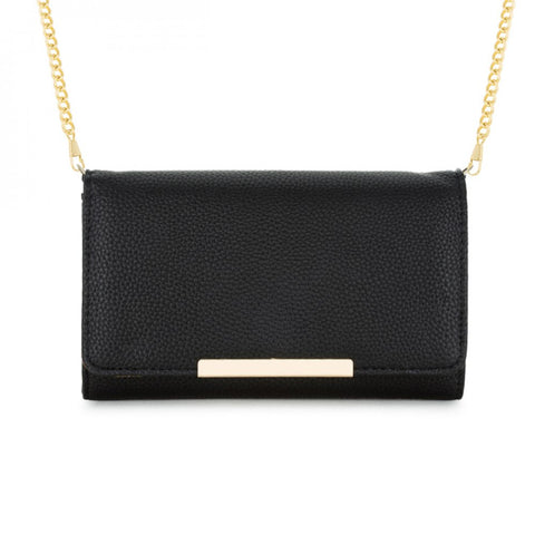 Laney Black Pebbled Faux Leather Clutch With Gold Chain Strap