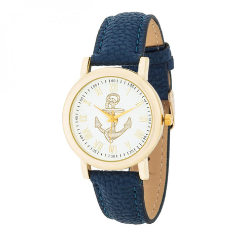 Natalie Gold Nautical Watch With Navy Blue Leather Band