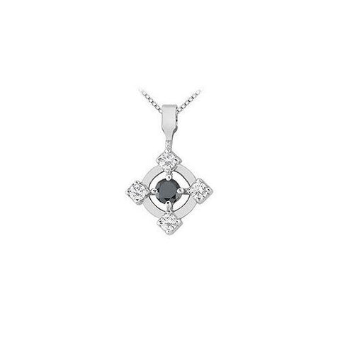 $949  Black and White Diamond Circle Pendant : 14K White Gold - 0.50 CT Diamonds